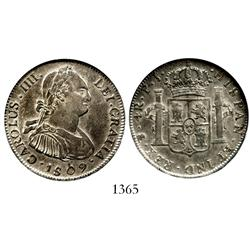 Potosi, Bolivia, bust 4 reales, Charles IV, 1809PJ, encapsulated NGC AU-58, ex: Whittier collection.