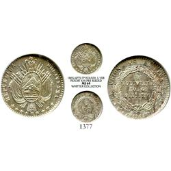 Potosi, Bolivia, piedfort pattern 1/10 boliviano, 1865/4FP, reeded edge, medal alignment, encapsulat