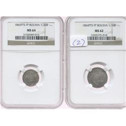 Lot of 2 Potosi, Bolivia, silver minors in NGC capsules: 1/10 boliviano, 1864FP, MS-62; and 1/20 bol