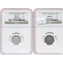 Lot of 2 Potosi, Bolivia, 10 centavos in NGC capsules: 1870ER, MS-64; 1893CB, MS-65.