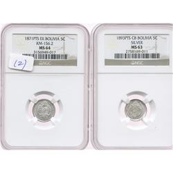 Lot of 2 Potosi, Bolivia, 5 centavos in NGC capsules: 1871ER, MS-64; and 1893CB, MS-63.