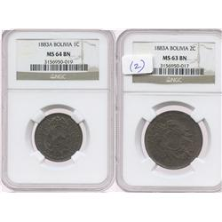 Lot of 2 Bolivia copper minors of 1883-A, both encapsulated NGC: 2c, MS-63 BN; 1c, MS-64 BN.
