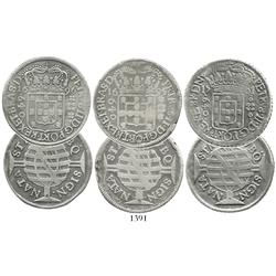 Lot of 3 Brazil 640 reis, Pedro II, 1695, 1696 and 1701-P.