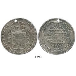Brazil (Bahia mint), 960 reis, 1816-B, struck over a Spanish colonial bust 8R dated 1798.