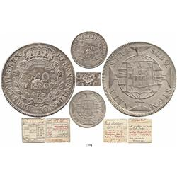 Brazil (Rio mint), 960 reis, 1820-R, struck over a British Honduras 6 shilling 1 penny (crowned-GR c