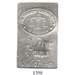 Burma (Myanmar), Iriwaddy Counting House at Rangoon, 5 taels, .999 fine silver ingot (1970s).