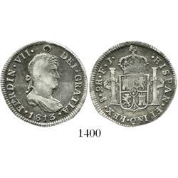 Santiago, Chile, bust 2 reales, Ferdinand VII, 1813FJ, inverted mintmark.