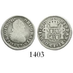 Santiago, Chile, bust 1/2 real, Ferdinand VII (bust of Charles IV), 1817FD, scarce assayer.