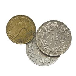Lot of 3 Santiago, Chile, coins: 50 centavos, 1902, 1905; aluminum-bronze 5 centesimos, 1961.
