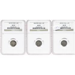 Lot of 3 Santiago, Chile, 1/2 decimos (1853, 1856/5 and 1861), all encapsulated NGC AU-55.