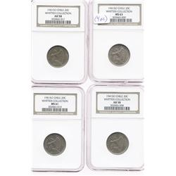 Lot of 4 Santiago, Chile, copper-nickel 20 centavos, 1941, all encapsulated NGC (MS-63, MS-61 and AU