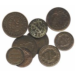 Lot of 9 Santiago, Chile, copper coins: 2-1/2c, 1886, 1887; 2c, 1881, 1882 (with star countermark),