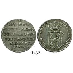 Bogota, Colombia, 2 reales-sized proclamation medal for Ferdinand VII, 1808, pomegranate at top only