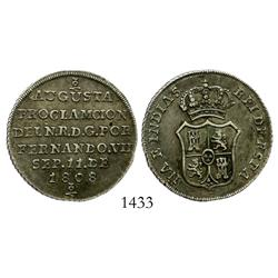 Bogota, Colombia, 2 reales-sized proclamation medal for Ferdinand VII, 1808, pomegranates at top and