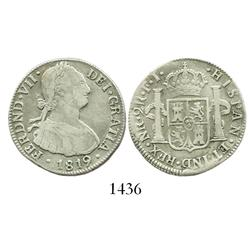 Bogota, Colombia, bust 2 reales, Ferdinand VII (bust of Charles IV), 1819FJ, scarce.
