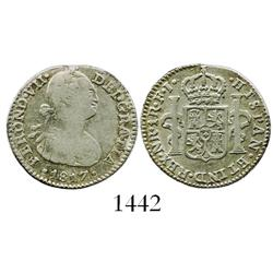 Bogota, Colombia, bust 1 real, Ferdinand VII (bust of Charles IV), 1817FJ.