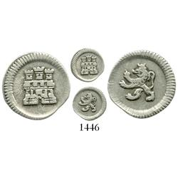 Bogota, Colombia, 1/4 real, no date or mintmark or assayer (1756-96), large castle / small lion vari