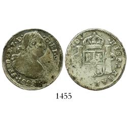Pasto, Colombia, 2 reales, Ferdinand VII (bust of Charles IV), 1822O, scarce.