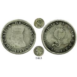 Lot of 2 coins of the first Colombian republic: Bogota, 8 reales, 1821BaJF; Popayan, 1/4 real, 1826R