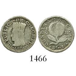Bogota, Colombia, 1/2 real, 1821BaJF, rare.