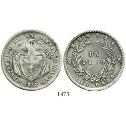 Bogota, Colombia, 1 peso, 1858.