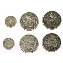 Lot of 3 coins of Bogota, Colombia: 1 peso, 1856/5; 1 peso, 1856; and 2 decimos, 1855.