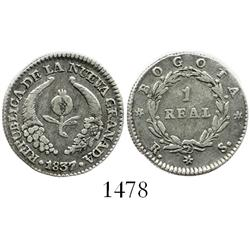 Bogota, Colombia, 1 real, 1837RS.