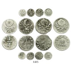 Lot of 4 Colombian cuartillo-sized coins: Popayan, 1/4 decimo, 1861 (3 stars); Popayan, 1/4 decimo,
