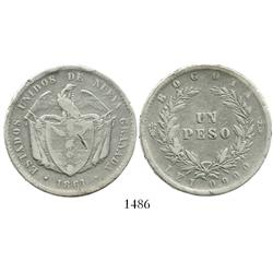 Bogota, Colombia, 1 peso, 1861.