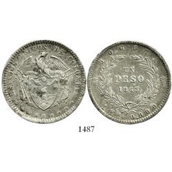 Bogota, Colombia, 1 peso, 1863.