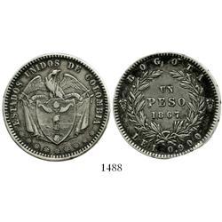 Bogota, Colombia, 1 peso, 1867.
