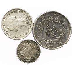 Lot of 3 Bogota, Colombia, silver coins: 1 peso, 1866; 50 centavos, 1880; 2 decimos, 1867.