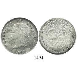 Bogota, Colombia, 50 centavos, 1898, encapsulated PCGS AU-53.