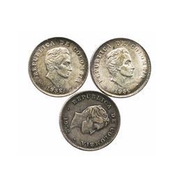 Lot of 3 Bogota, Colombia, 50 centavos, 1932-B.