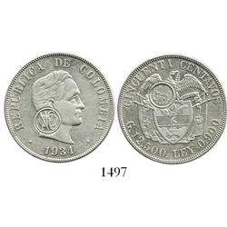Colombia (struck in San Francisco), 50 centavos, 1934, with 1974 Numismaticos Colombianos countersta