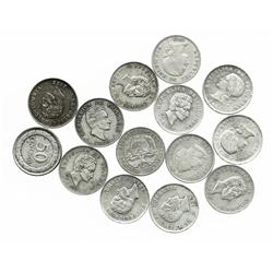 Large lot of 14 Colombian half dollars: 1892 (Columbus), 1902, 1906 (Bogota), 1908 (Bogota), 1914 (o