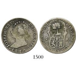Costa Rica, 2 reales, (1845) Type III counterstamp on Madrid, Spain, 4R of 1810AI (Joseph Napoleon).