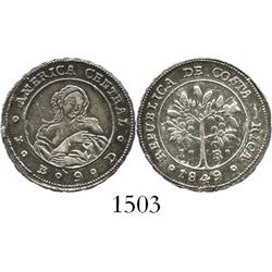 Costa Rica, 1 real, 1849JB.