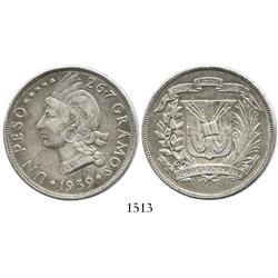 Dominican Republic, 1 peso, 1939.