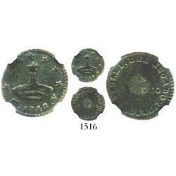 Quito, Ecuador, 1/4 real, 1842MV-S, coin alignment, encapsulated NGC Fine details / environmental da