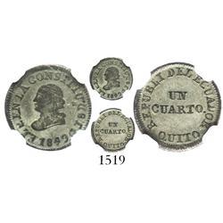 Quito, Ecuador, 1/4 real, 1849GJ, encapsulated NGC XF-40.