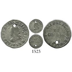 """Quito, Ecuador, 1/4 real, 1852GJ, """".8.Ds."""" variety."""