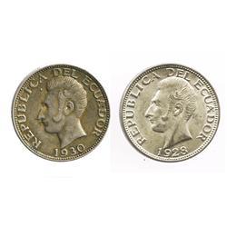 Lot of 2 Ecuador (struck in Philadelphia) 2 sucres, 1928 and 1930.