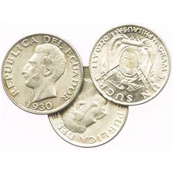 Lot of 3 Ecuador (struck in Philadelphia) 1 sucres, 1928, 1930 and 1934.