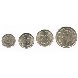 Lot of 4 Ecuador nickel 1 sucre, 20c, 10c and 5c, all dated 1937.