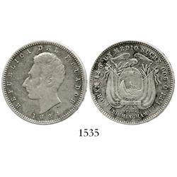 Ecuador (struck in Birmingham), 1/2 sucre, 1884.