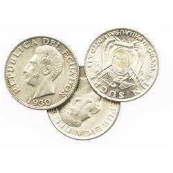 Lot of 3 Ecuador 2 decimos: 1889DT (SANTIAGO CHILE), 1914FG (LIMA) and 1916TF (PHILADELPHIA).