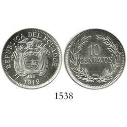 Ecuador, copper-nickel 10 centavos, 1919.
