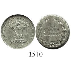 Ecuador, copper-nickel 2-1/2 centavos, 1917, encapsulated NGC AU-50.