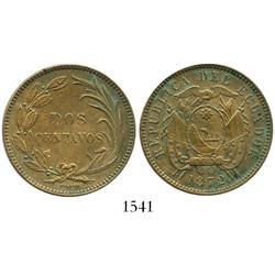 Ecuador, copper 2 centavos, 1872 (HEATON).